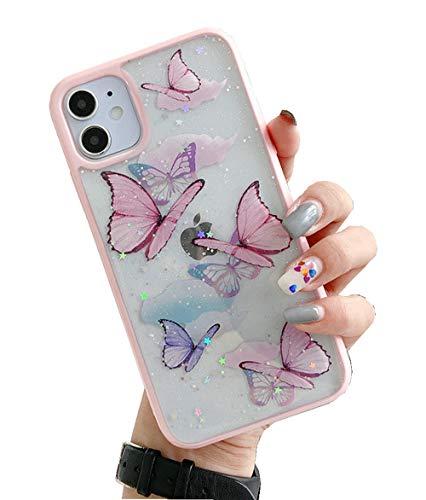 Shinymore Schutzhülle für iPhone SE, Schmetterling, Glitzer, stoßfest, weiches Silikon, transparent, für Mädchen und Frauen, Rosa
