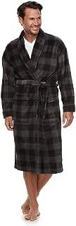 Croft and Barrow Mens Gray/Black Buffalo Check Plush Bathrobe Robe -Size S/M