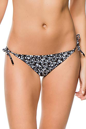 Kisuii Women's Palm Print Tie Side Hipster Bikini Bottom Black/White S