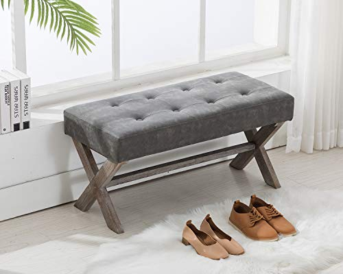 DM Furniture DUOMAY Entryway Bench, PU Leather Upholstered Bedroom Bench Seat Button Tufted, Gray
