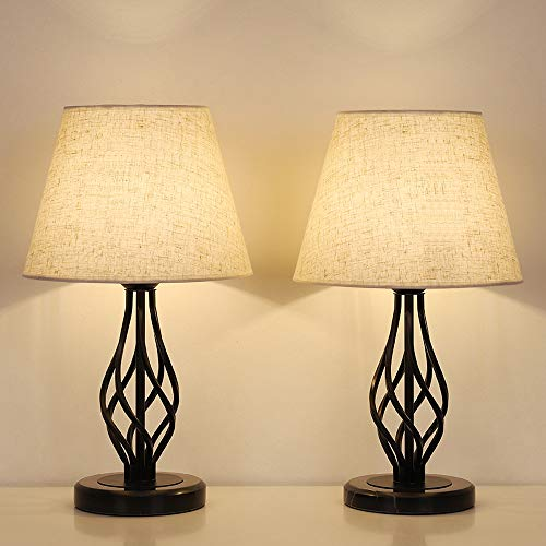 HAITRAL Traditional Table Lamps Set of 2 - Vintage Bedside Lamps with Marble Base, Linen Fabric Shade, Farmhouse Table Lamps for Bedroom, Living Room
