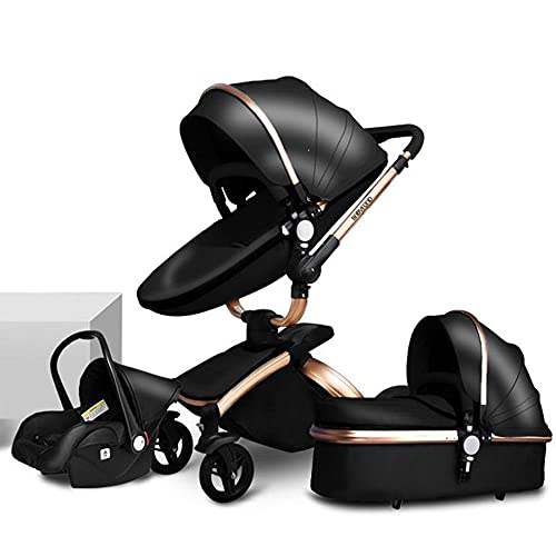 TBQATNTS Baby Carriage Stroller 3 in 1 Baby Trolley Car Seat Stroller, with Adjustable Seat Height Angle and Four-Wheel Shock Absorption,360°Rotation, High Landscape and Fashional Pram,Black