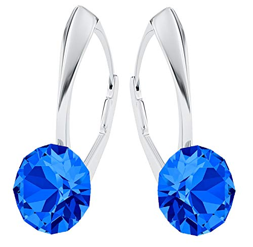 **Beforya Paris** *IMPECCABLE BRILLANTS* Silber 925 *Viele Farben* - Ohrringe mit Kristallen von Swarovski® - Schön Ohrringe Damen Ohrhänger - Wunderbare Ohrringe mit Schmuckbox (Capri Blue)