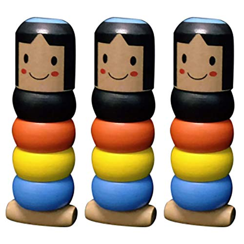 Klions Little Wooden Man Who Can't Beat Interesting Magic Toy, Little Unbreakable Wooden Man Magic Toy Stage Magic Props, Funny for Kids Toy (3PC)