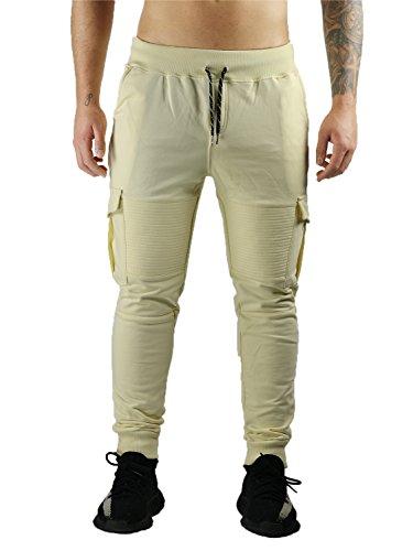Deadstock Sweatpants | Jogginghose Cargo Biker Hose (S, Vanilla-Beige)