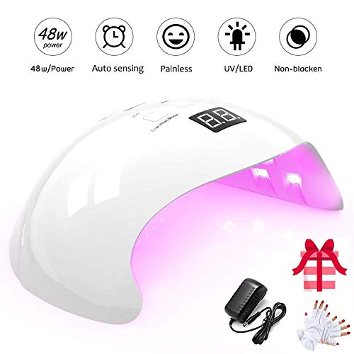 Lámpara UV Profesional, 48W Lampara Led Uñas Profesional con temporizador, Sensor para uñas de gel y Toe Nail Curing 21 Leds con pantalla LCD y temporizador 30s, 60s, 99s
