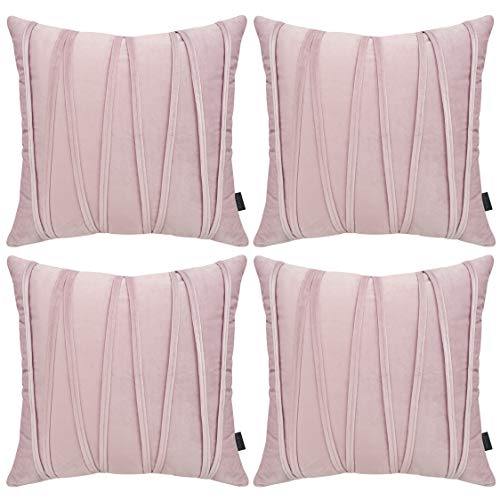 Hodeacc 4 Pack Crushed Velvet Throw Pillow Cases Super Soft Decorative Cushion Covers Pillowcases For Living Room Sofa Bedroom,CASES ONLY,18x18 Inch/45x45 CM