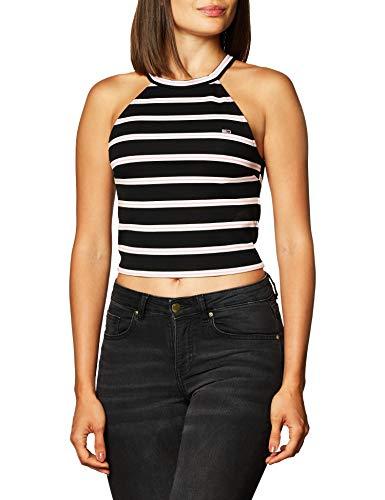 Tommy Jeans - Camiseta de tirantes de rayas para mujer, color negro/blanco...