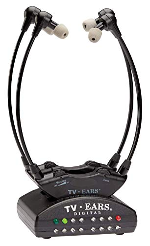 TV Ears Dual Digital Wireless Headset System, Use 2 headsets at same time, connects to both Digital and Analog TVs, TV Hearing Aid Device for Seniors and Hard of Hearing-11841