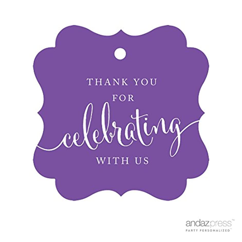 Andaz Press Fancy Frame Gift Tags, Thank You For Celebrating With Us, Purple, 24-Pack, For Baby Bridal Wedding Shower, Kids 1st Sweet 16 Quinceanera Birthdays, Anniversary, Graduation, Baptism, Christening, Confirmation, Communion Party Favors, Gifts, Boxes, Bags, Treats and Presents