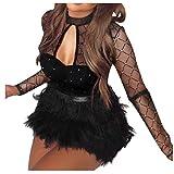 Abendkleider Damen Sexy Perspektive Mesh Wickelkleid Schwarz Bodycon Kleid Abend Party Cocktailkleid Langarm Plüsch Partykleid Kleider Minikleid Elegante Festliches Kleid (L, Schwarz)