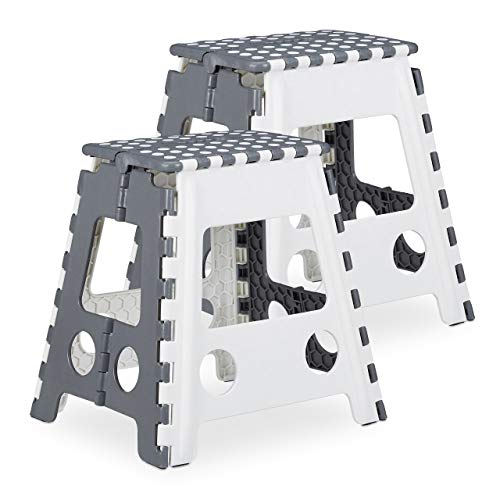 Relaxdays 2 x Tritthocker XL klappbar, einstufiger Klapphocker mit Griff, bis 120 kg, Kunststoff, 39,5 x 38,5 x 32 cm, grau/weiß