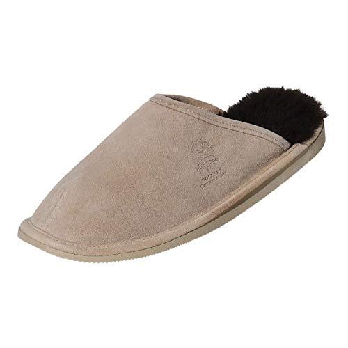 Hollert Herren Lammfell Hausschuhe Olaf Pantoffeln Puschen Echtleder & Merino Schaffell kuschelig warm rutschfest Schuhgröße EUR 42, Farbe Beige/Braun