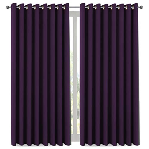 H.VERSAILTEX Premium Blackout Wider Curtains for Patio & Yard (100' W by 108' L), Thermal Insulated Room Divider Curtain Panel (Total Privacy, Large Size 9' Tall x 8.5' Wide) - Plum Purple