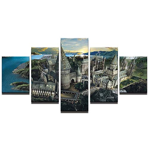YuFeng Art Inn Modern Wall Poster Art Print Oil Painting on Canvas Home Decor Wall Decoration Canvas Art 5Panels Modern Wall Art Canvas Pictures For Living Room Posters 5 Pieces Harry Potter Hogwarts Sunset Canvas Painting (Unframed-No Framed,S)