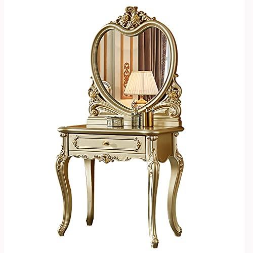 zxb-shop Mesa de Maquillaje Mesa de Maquillaje de vanidad con Espejo HD en Forma de corazón y 1 cajón para Dormitorio, Mesa de cómoda para Mujeres niñas Tocadores de Dormitorio