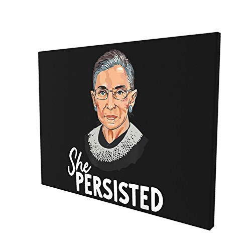FBIIIOU Canvas Print She Persisted RBG Ruth Bader Ginsburg Girl Power Contemporary Wall Decor for Living Room Bedroom Framed Ready to Hang 12x16 Inches