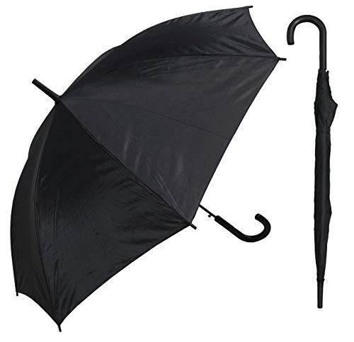 """RainStoppers 48"""" Auto Open Black Umbrella with Matching Hook Handle"""