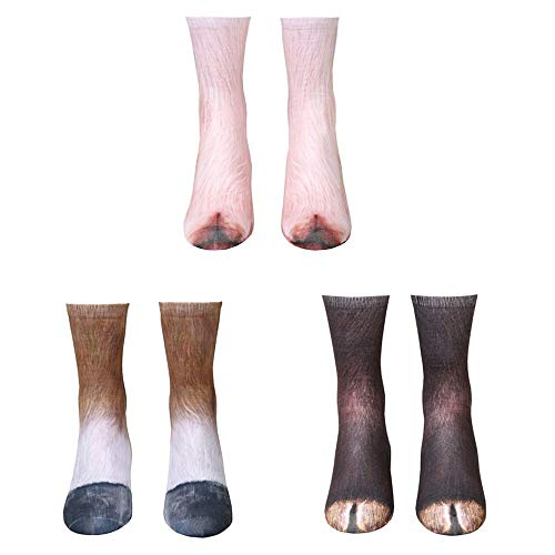ATROPOS 3 Pair Animal Paw Socks-Unisex 3D Printed Socks Novelty Animal Paws Crew Socks for Men Women Kids (Kid, Horse)