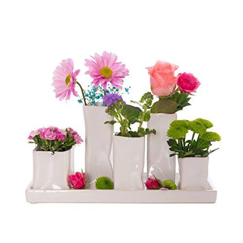 Home&Decorations Keramikvasenset Blumenvase Keramikvasen weiß Vase Blumen Pflanzen Keramik Set Deko Dekoration (1 Set je 5 Vasen, weiß)