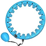 Zxhtwo Weighted Smart Fitness Hoop,24 Detachable Knots Abdomen Fitness Weight Loss Non-Falling Fitness Hoops, Adjustable Weight Auto-Spinning Ball,Pilates Circles for Adults and Kids Blue