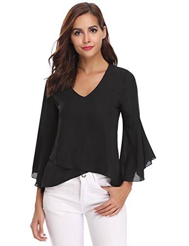 Abollria Camisa para Mujer 3/4 Mangas Elegante Blusa de Gasa Ligera Camisetas de Chiffon Cuello V...