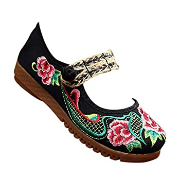 DAZISEN Embroidered Shoes - Buckle Chinese Dance Performance Shoes for Women Black