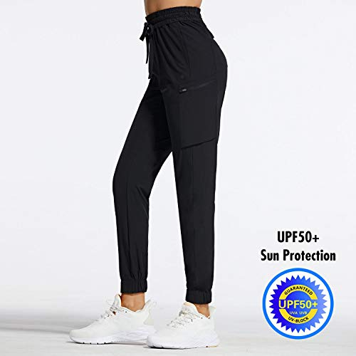 BALEAF Women's Hiking Cargo Pants Lightweight Scrub Pants with 7 Pockets Zippered Quick Dry UPF 50+ Tapered Joggers Black Size M