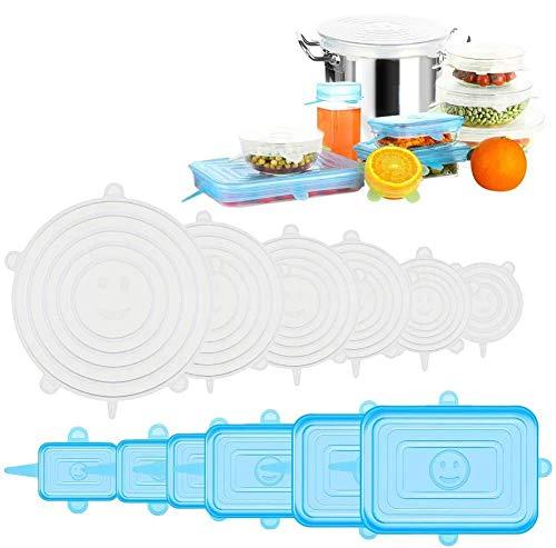 Tapas de Silicona Elásticas, 12 Tapas Rectangulares & Redondas Ajustables Silicona Cocina,Sin BPA, Reutilizable Fundas para Alimentos Tapa Tazas, Boles, Lavavajillas, Refrigerador, Microondas, Horno