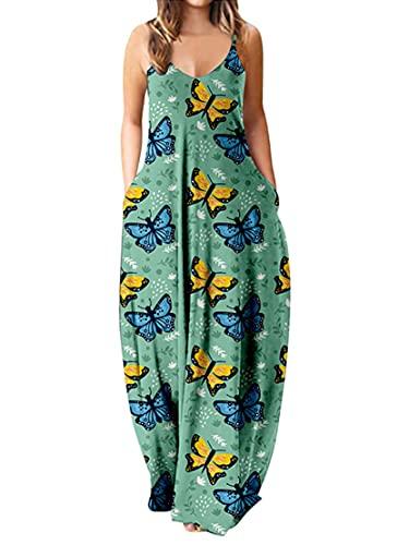 DeuYeng Maxi vestido para mujer sexy sin mangas con tirantes de espagueti, vestido largo con bolsillos, vestidos de verano de talla grande
