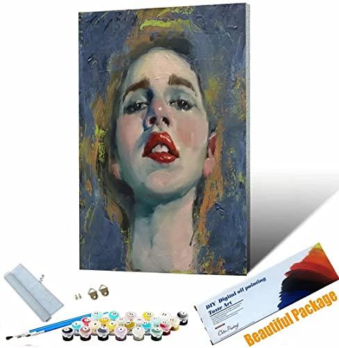 Vfvozr Pintar por numeros Adultos Pintura de Figuras Cuadros para Pintar por números con Pinceles y Colores Brillantes 40x50cm Sin Marco