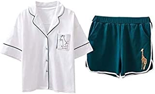 Summer Cotton Pajama Lapel Button Pocket White Top + Giraffe Print Shorts 2 Piece Set Pajamas for Women Plus Size Pajamas ...
