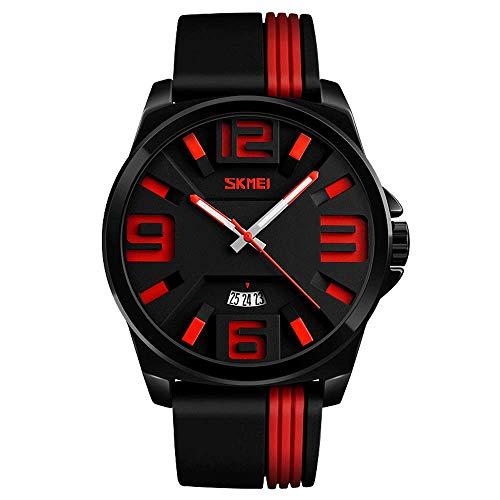 Reloj de cuarzo para hombre con esfera grande de moda, correa de silicona de moda 30 m Relojes impermeables para estudiantes, reloj de pulsera para exteriores multifunción para negocios de ocio