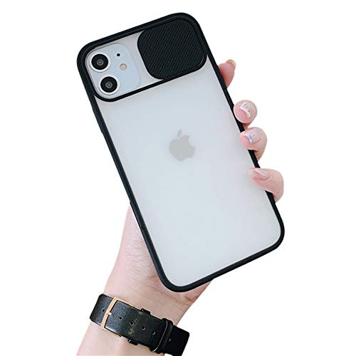 OWM Custodia iPhone 11 Antiurto Protettiva Elegante con Parte Posteriore smerigliata [Copertura Camera Scorrevole] Custodia in Silicone Sottile Antiurto per iPhone 11 (2019) - Nero