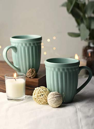 Octa Store Vintage Green Color Grooved Ceramic Coffee Mug Microwave Safe Coffee/Milk Mug with Handle Ideal Best Gift for Friends, Anniversary, Birthday (Set of 2, 300 ML)
