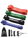 OMORC Resistance Bands 4 Packs, Pull Up Exercise Workout Band Set, Heavy Duty Exercise Bands, Pull Up Assist Bands with 2 Foam Handles, Door Anchor, Band Guard, for Powerlifting, Body Stretch