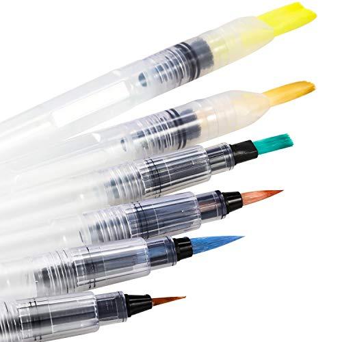 Magicfly Pincel de pintura al agua- Pincel de acuarela para artista- blanco, lote de 6 unidades
