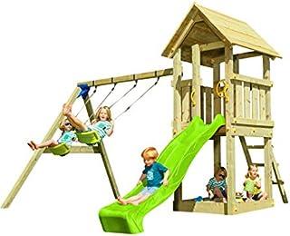 MASGAMES | Parque Infantil Kiosk XL con Columpio | Plataforma de 150 cm de Altura | Columpio de Dos plazas | Tobogán con C...