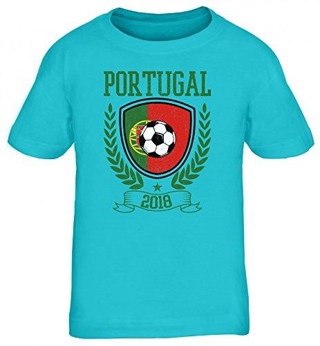 Wappen Fußball WM Fanfest Gruppen Trikot Kinder T-Shirt Rundhals Mädchen Jungen Pokal Portugal 2018, Größe: 152/164,türkis