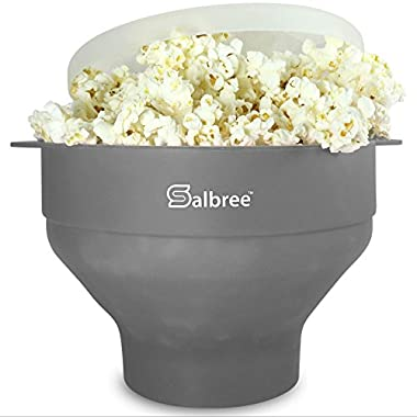 The Original Salbree Microwave Popcorn Popper, Silicone Popcorn Maker, Collapsible Bowl BPA Free (Gray)