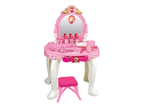 Teorema-65611 Specchiera Luci e Suoni con Trousse Make-Up e Accessori Assortiti-Asciugacapelli a Batteria per Bambini, Multicolore, 65611