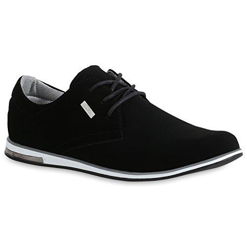 stiefelparadies Klassische Herren Halbschuhe Business Sneaker Leder-Optik Schuhe Schnürschuhe Freizeitschuhe 172775 Schwarz Grau 43 Flandell