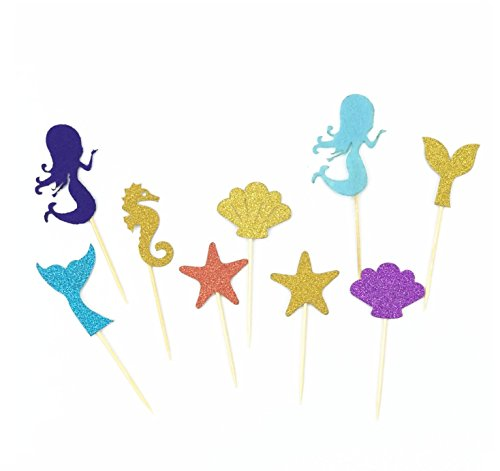 Astra Gourmet 39pcs Super Glitter Mermaid Theme Cupcake Muffin Topper Picks Cake Decoration Baby Shower Birthday Party Favors, Including Mermaid, Seahorse, Shell, Starfish, Fishtail