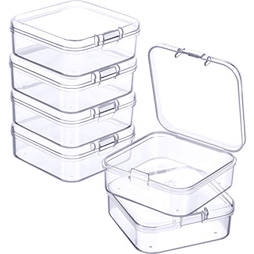 6 Stücke Kleine Klar Kunststoff Perlen Aufbewahrung Behälter Box mit Klappdeckel zum Sammeln von Kleinen Gegenständen, Visitenkarten, Spielstücken, Schmuck (2,13 x 2,13 x 0,79 Zoll)