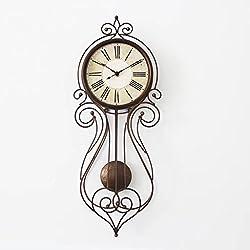 KTYJH European Pastoral Retro Wall Clock Fashion Wrought Iron Metal Wall Charts Creative Personality Swing Wall Bell