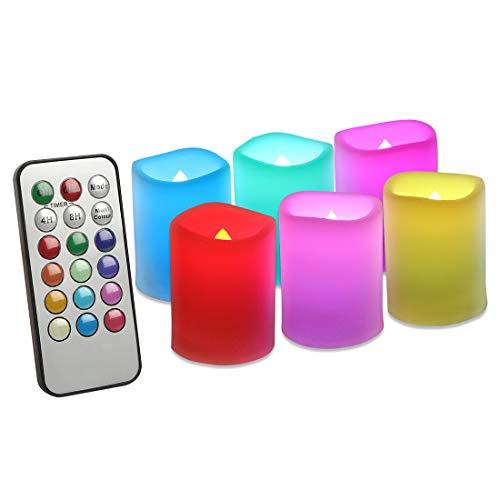 EverBrite 6PC Velas LED Electrónica 12-Color Control Remoto Temporizador de 4H/8H, LED Candle Sin Llama para Navidad, San Valentín, Cumpleaños, Fiestas, Bodas Decoración