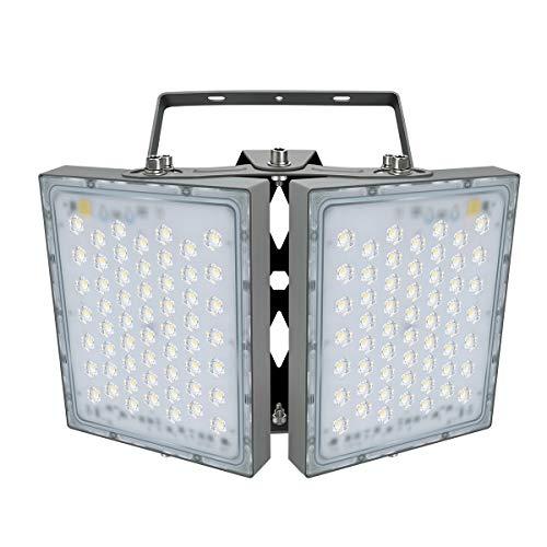 200W LED-Sicherheitslicht, 18000LM Superhell LED Fluter Flutlicht Außenstrahler, IP65 Wasserfest, 5000K Tageslicht, 2 Flutlicht mit verstellbarem Kopf unter, für Garten, Garage, Hotel ect.