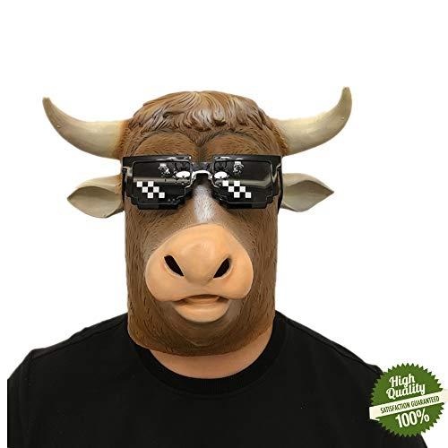 Morbuy Máscara de Cabeza Animal de Látex, Adulto Látex Novedad Interesante Cabeza Máscaras Halloween Cara Fiesta de Disfraces Cosplay (Ganado)