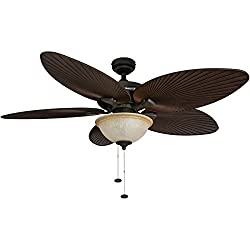 "top 10 outdoor ceiling fans with lights 52 ""Honeywell Palm Island Tropical Ceiling Fan, Sunset Glass Bowl Lighting, 5 Palm Leaves…"