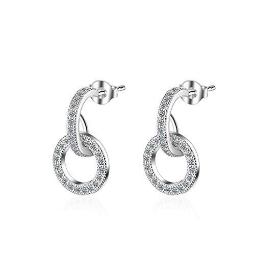 Sunwd Mujer Pendientes, 925 Sterling Silver Dazzling CZ Micro Zircon Circle Earrings For Women Silver 925 Earrings Oorbellen S-E562